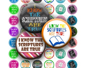 LDS Primary Theme 2016 - I Know The Scriptures Are True - Variety Colors - 1 inch Round Circles for Bottle Caps - INSTANT DOWNLOAD