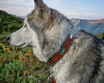 Real Turquoise Leather Dog Collar // Loki the Wolfdog // Nameplate Dog Collar // Personalized Dog Collar // Stamped Leather Collar