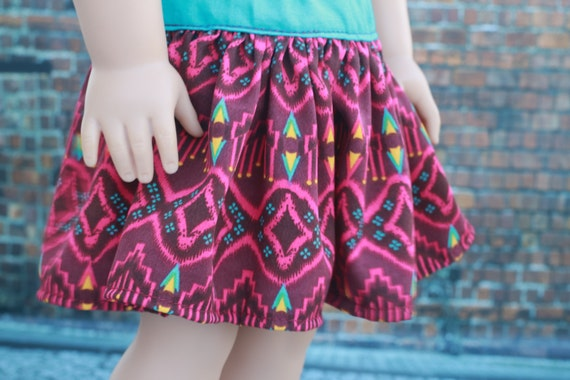 Doll Clothes | Trendy Southwestern Print SKIRT for 18 Inch Dolls such as American Girl Doll