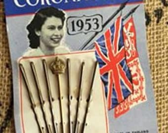 Vintage 1950s Hair Pins Bobby Pins Accessory Adornments Deadstock 1953 CORONATION Souvenir Item For Queen Elizabeth Made In England