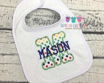 Monogrammed Baby Boy Bib - Personalized Bib - Baby Bib - monogrammed bib - baby gift
