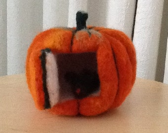 Pumpkin Mouse House, Needle Felted