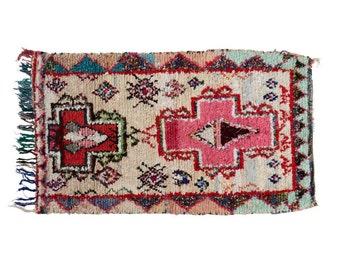 Pink Crosses Vintage Moroccan Rag Rug - Hand Woven with Synthetic Fabrics, Pink, Blue, Gold 195x110cm