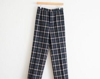 vintage 70s wool plaid trousers