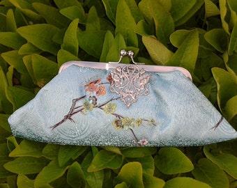 Clutch Bag with brooch-Aqua Satin