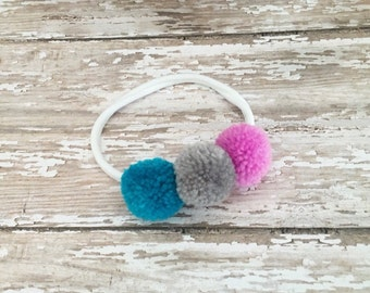 Baby/Child/Newborn/Girl's Summer Yarn Pom Pom Headband, Nylon Pom Pom Headband