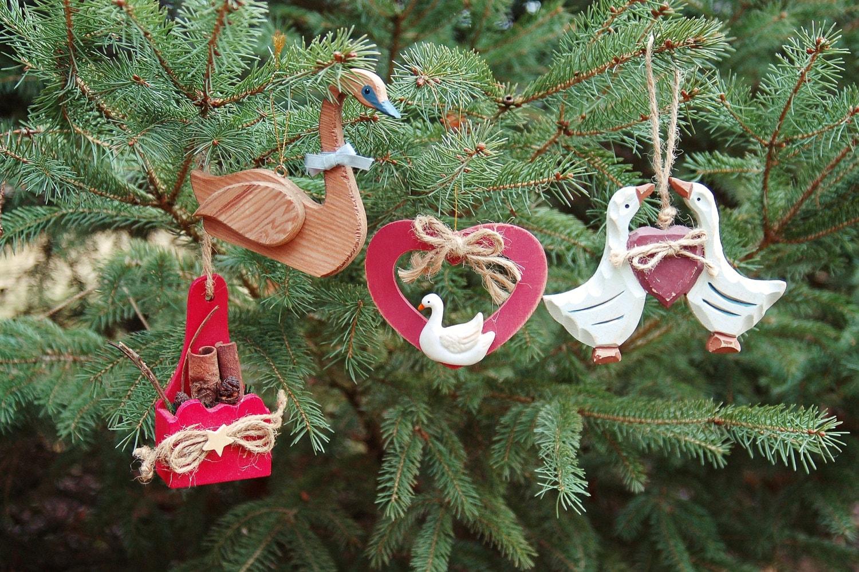 Country Christmas Tree Ornaments Folk Art Set of 4 Rustic
