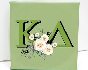 Kappa Delta Canvas w/ FREE SHIPPING White Roses on High-Quality Canvas. Various sizing options.