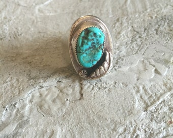 Vintage Large Silver and Turquoise Ring