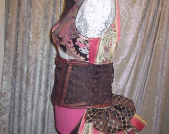"""25% OFF - Steampunk Faerie 12"""" Patchwork Bustle Ruffle - One Size"""