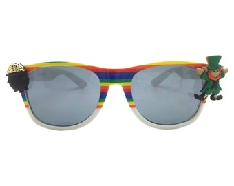Happy St. Patrick's Day Women's Rainbow Sunglasses with Leprechaun and Pot of Gold.  UV 400 Protection