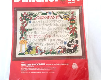 Dimensions Crewel, Christmas Is Goodwill, Terrie Lee Steinmeyer, 8004 Wool Holiday, Embroidery Crewel Kit, Christmas Holiday Craft Kit