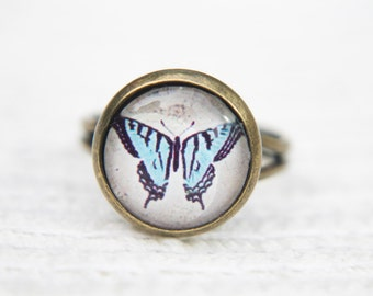 Butterfly Ring, Blue Ring, Blue Butterfly, Nature, Insect, Adjustable Ring, Statement Ring, Glass Dome Ring