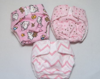 Just like real! Set of 3 cloth diapers with elastic legs and back for dolls, including Bitty Baby, Cabbage Patch, Baby Alive, etc.