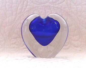 Vintage Paperweight Cobalt Blue Heart Paperweight Candle Paper Weight