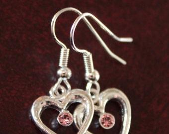 Heart Earrings, Heart Jewelry, Dangle Heart Earrings, Silver Hearts, Gift Idea that says I Love You