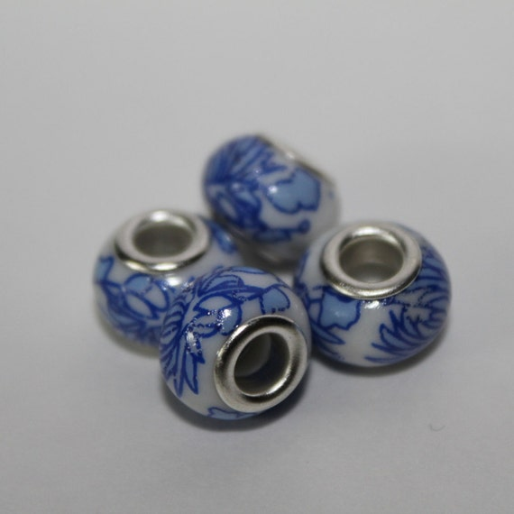 Porcelain Bead with Grommet, Large Hole Bead, White with Blue Flowers, Pack of 4