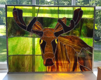 Stained Glass Young Bull Moose in the Leafy Green Wilds
