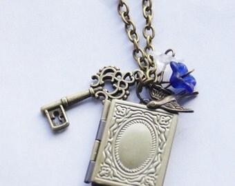 Book Locket Necklace Secret Garden Necklace Personalized Locket Romantic Victorian Key Necklace Book Lover Gift Reader Gift Stocking Stuffer