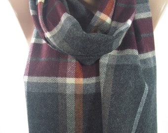 Wool Plaid Scarf Flannel Scarf Men Scarf Women Scarf Ascot Neck Warmer Fall Winter Fashion Scarf Holiday Christmas Gifts For Him For Her