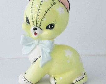 Stitch Kitty Cat Planter Lemon Yellow Vintage Kitsch Retro 1960s (Lefton or Napco?)