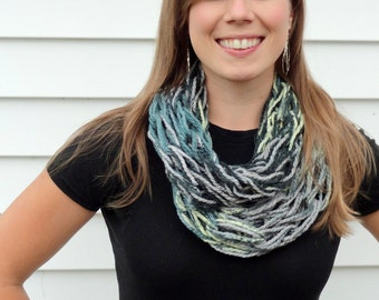 Knit Infinity Scarf, Lightweight Teal, Grey, Green, and Black Arm Knit Infinity Scarf, Arm Knit Scarf, Infinity Scarf, Fashion Scarf, Scarfs