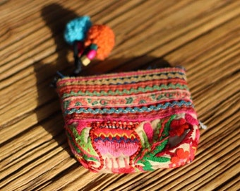 Antique Thai Hill Tribe Hand Embroidered Small Purse