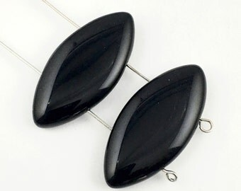 2 black onyx black stones with 2 drilled holes / 18mm x 30mm # PP009