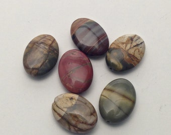 6 Picasso jasper pillow stone beads / 13 mm x 18mm #PP002-1