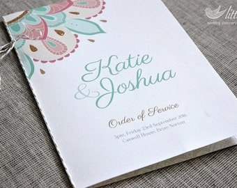 Wedding stationery - x25 wedding order of service / wedding program, indian pattern design with glitter (A5 folded)
