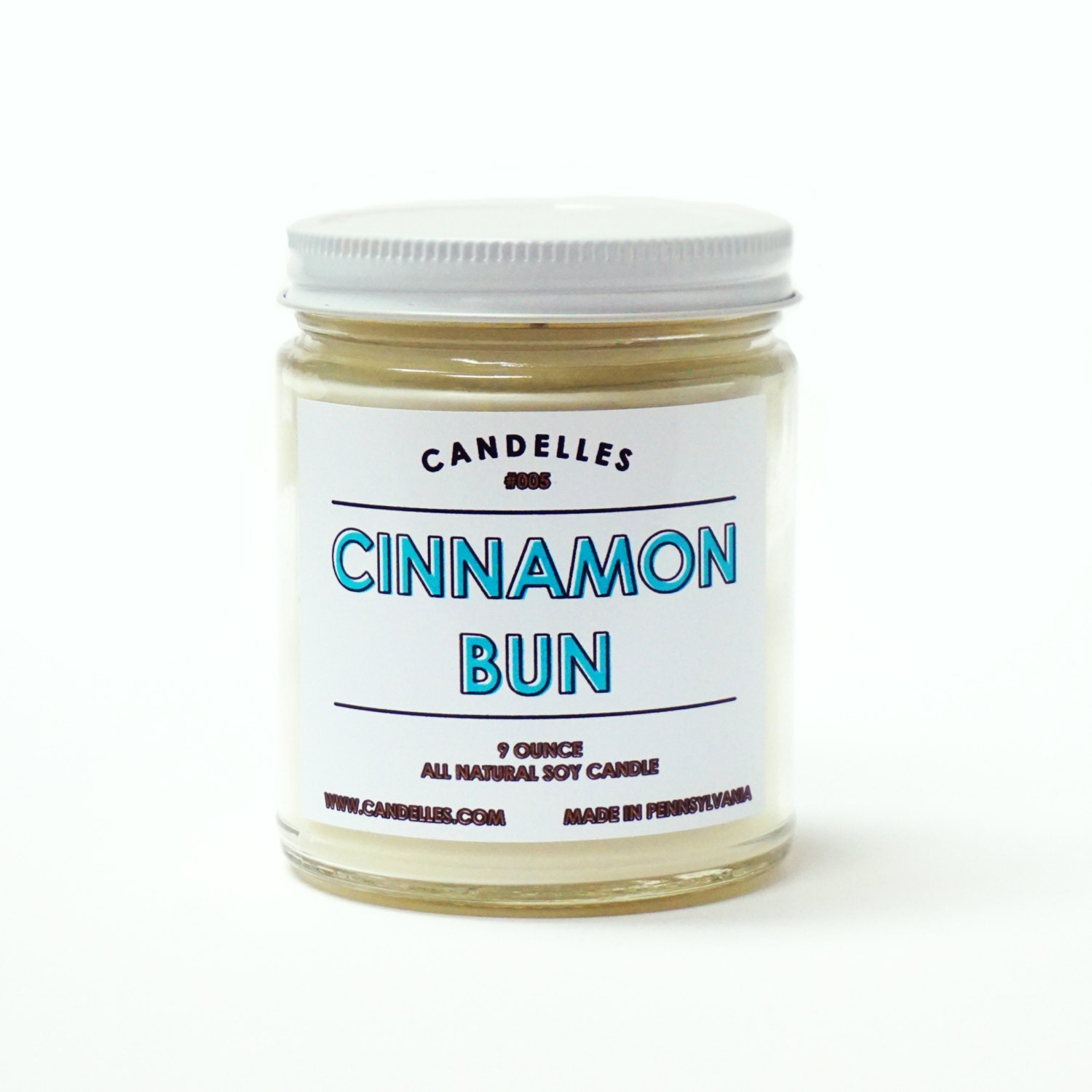 Ready To Ship Cinnamon Bun Scented Soy Candle Natural