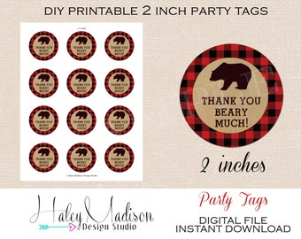 Lumberjack Thank you Tags, Favor Tags INSTANT DOWNLOAD