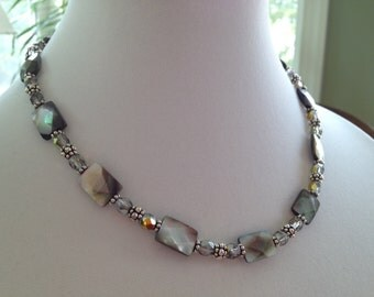 Mother of Pearl, Crystal, Sterling Silver Necklace (N8)