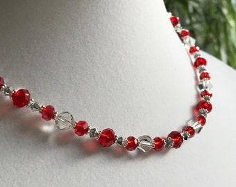 Red & Gray Czech Crystal, Sterling Silver Necklace (N19)
