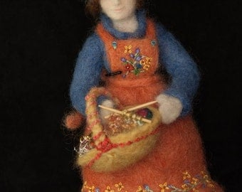 Emily the knitter, an original needle felted art doll