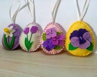 Felt easter decoration - felt egg with flowers / set of 4 decorated with tulip, daffodil, pansy, violet flowers