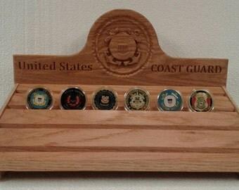 US Coast Guard Carved Oak Challenge Coin Rack