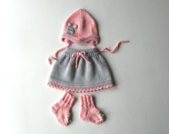 Merino baby girl set wool set for baby girl knitted set with mouse MADE TO ORDER