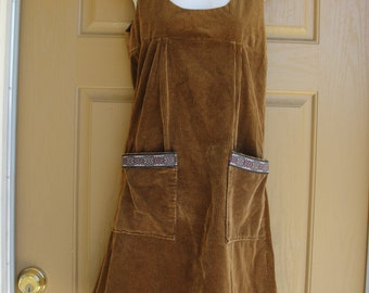 Vintage 70s 80s brown corduroy tank dress hand made midi 1970s 1980s