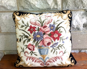VIntgae Floral Needlepoint Pillow