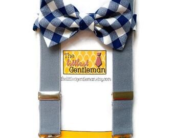 Navy Blue boys bow tie and suspenders set, navy gingham boys bow tie, navy baby bow tie, Navy wedding, ringbearer, navy boys suspenders,