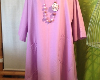 "Long tunic style ""Lagenlook"" one size of 42 to 48 purple color"