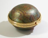 Limoges-Style trinket box handmade green gold blue marble pattern