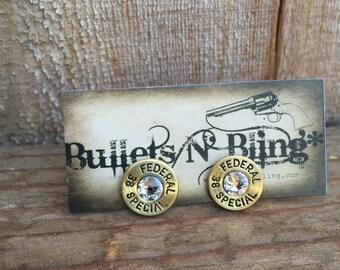 38 Special Federal Stud Bullet Casing Earrings (brass)