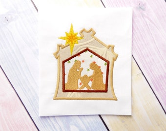 Manger Nativity applique machine embroidery design. Nativity scene embroidery design. Christmas manger nativity applique. Many hoop  sizes.