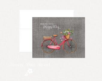 Bike Birthday Card, Floral Vintage Bike Card, Happy Birthday Card, Bike Thinking of You Card