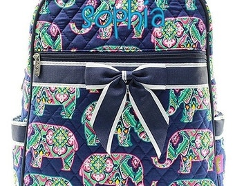 """Personalized Elephant Moroccan 15"""" Quilted Backpack Monogrammed Bookbag Kids School Tote Bag Embroidered Name Monogram"""