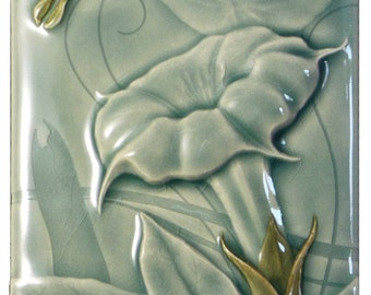 Luna, ceramic tile, home decor, wall art, art tile, 4 x 8 inches