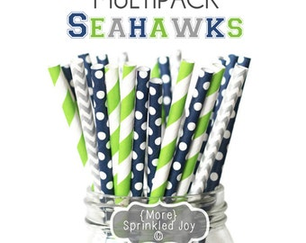 Game Day Seahawks Straw Multipack, Limited Edition, Superbowl, Seattle, Party, Football, 2015, Green, Navy, Silver, Seahawks, Seattle