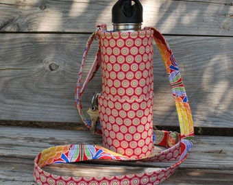 Water Bottle sling with pocket and adjustable strap, Fabric Water Bottle Carrier, Fabric Bottle Holder, water bottle cozy, bottle sling